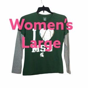 Michigan State University L Shirt MSU Green Top